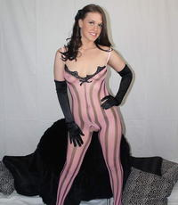 Booty have intercourse in a lascivious fishnet body stocking. Exciting slut fuck her butthole with dildos wearing a libidinous striped body stocking