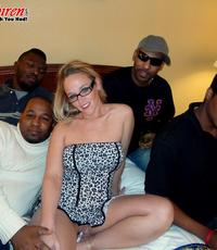All black gangbang. Excited housewife fucks a room full of hung