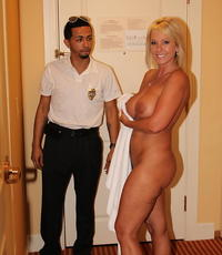 Seducing the security guard. Alysha assumes the position.