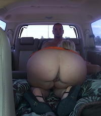 Backseat driver. Curvy blonde takes control in the back of a van and gets her have intercourse on.