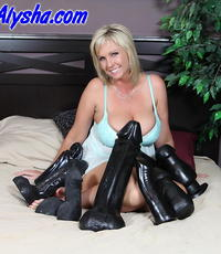 Voluminous black attack. Naughty Alysha does nothing but large black dildos this time.
