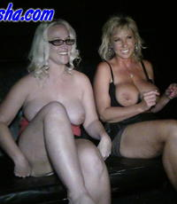 Tramps at the theater. Alysha and Mrs. Siren blowjob a bunch of