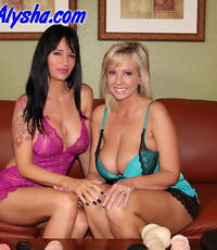 Female dildo have sexual intercourse. Naughty Alysha and Angie
