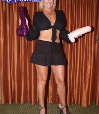 Heavy toy games. Hot blonde buries humongous toys in her snatch
